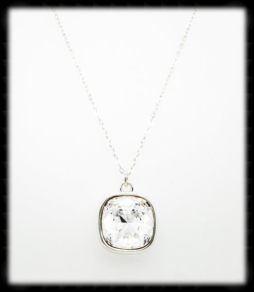 Sparkling Cushion Necklace- Clear Silver