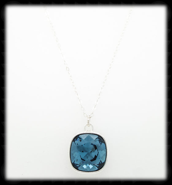 #CD31N- Cushion Cut Necklace- Denim Silver