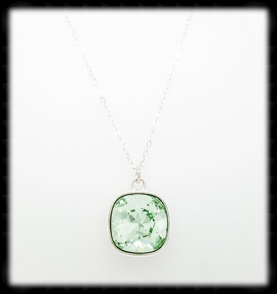 Sparkling Cushion Necklace- Chrysolite Silver
