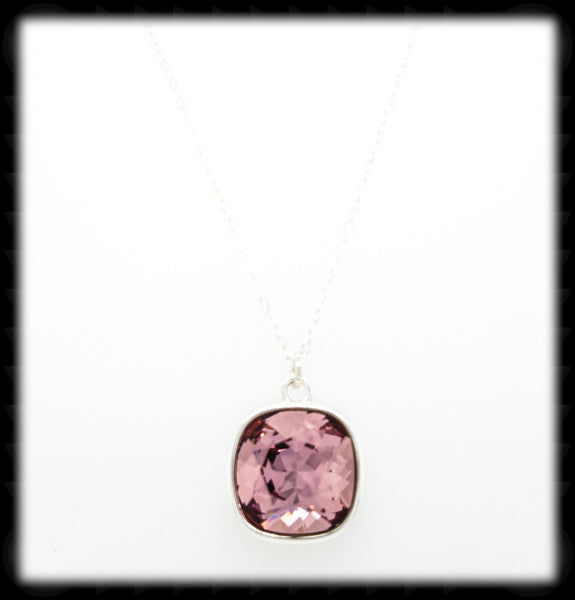#CD51N- Cushion Cut Necklace- Antique Pink Silver