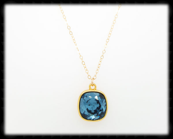 #CD31NG- Cushion Cut Necklace- Denim Gold
