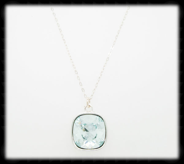 #CD1N- Cushion Cut Necklace- Light Azore Silver