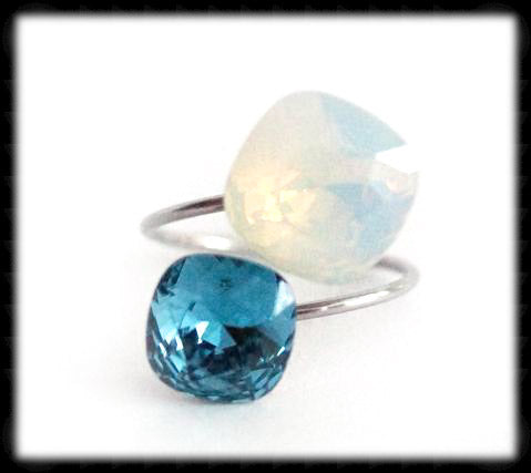 #R9941- Sparkling 2 Tone Ring- White Opal Indicolite