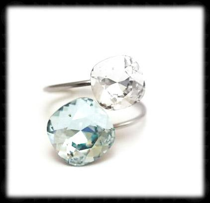 #R993- Sparkling 2 Tone Ring- Azore Clear