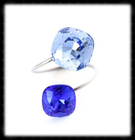 #R99991- Sparkling 2 Tone Ring- Light Sapphire Majestic