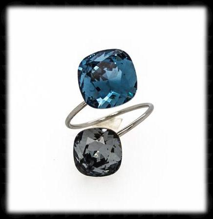 #R999601- Sparkling 2 Tone Ring- Denim Silver Night