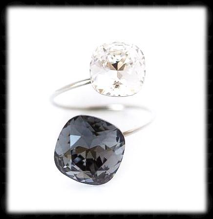 #R9981- Sparkling 2 Tone Ring- Silver Night Clear