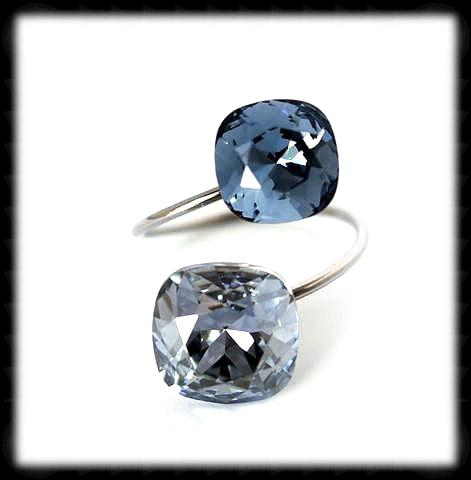 #R99994- Sparkling 2 Tone Ring- Blue Shade Denim