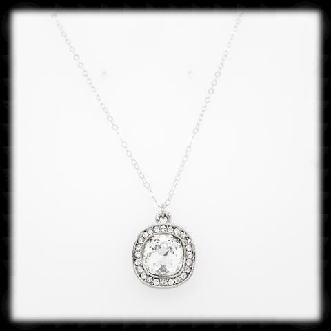 #CDCZ1- Sparkling Cz Cushion Necklace- Clear Silver
