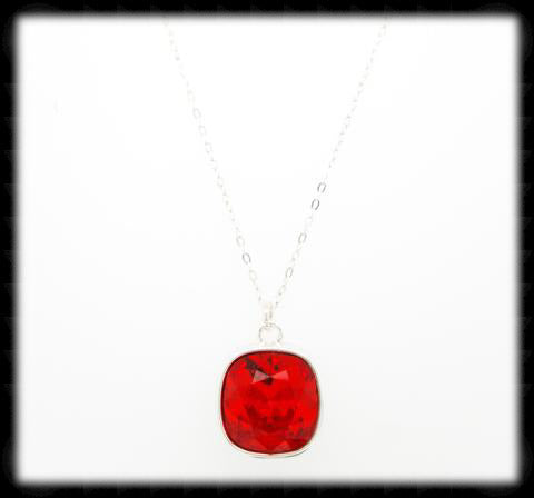 Sparkling Cushion Necklace- Poppy Silver
