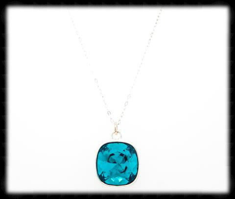 Sparkling Cushion Necklace- Indicolite Silver