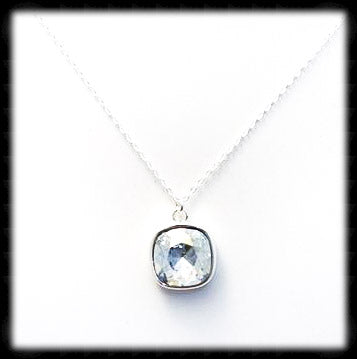 #CD24N- Cushion Cut Necklace- Blue Shade Silver
