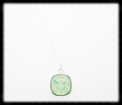 #CD16N- Cushion Cut Necklace- Chrysolite Opal Silver