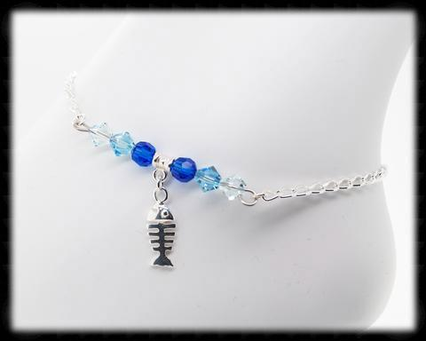 #ANK2- Ocean Blue Sterling Anklet- Fish