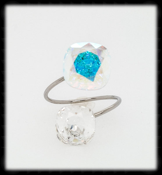 #R9931- Sparkling 2 Tone Ring- Ab Clear