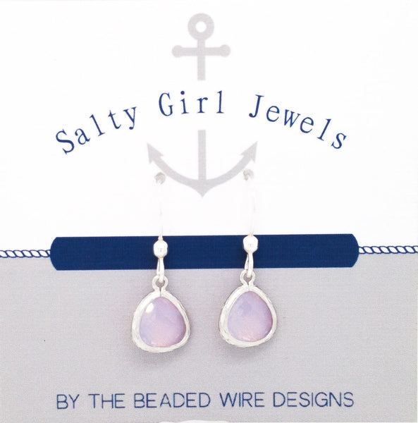 #AAFTP491- Petite Framed Teardrop Earrings- Violet Opal Silver