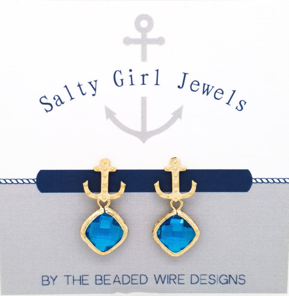 #SD41- Anchor Drop Studs- Capri Gold
