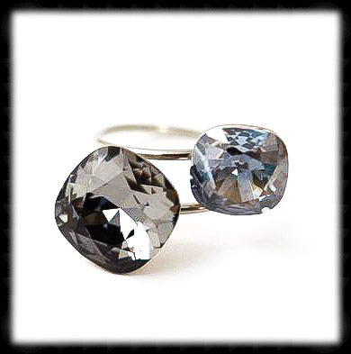 #R992- Sparkling 2 Tone Ring- Silver Night Blue Shade