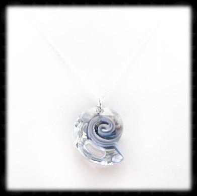 #CRN05- Crystal Shell Necklace- Blue Shade Silver