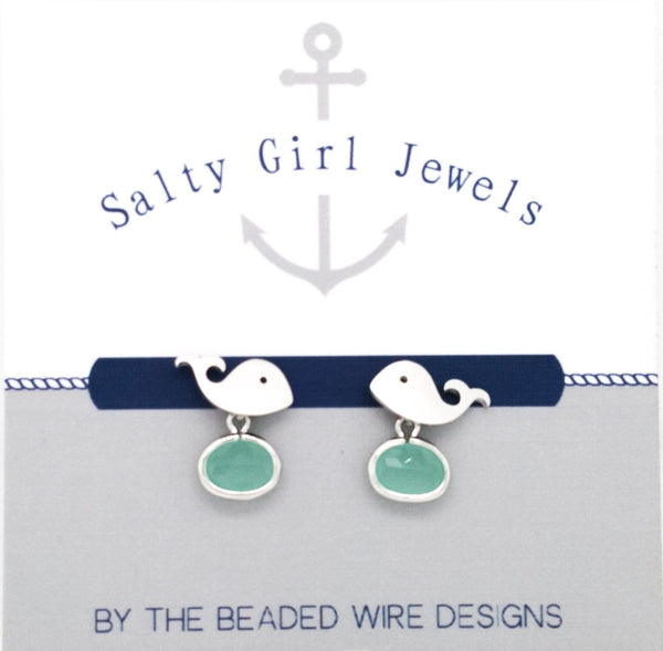 #SD77- Whale Drop Stud- Mint Silver