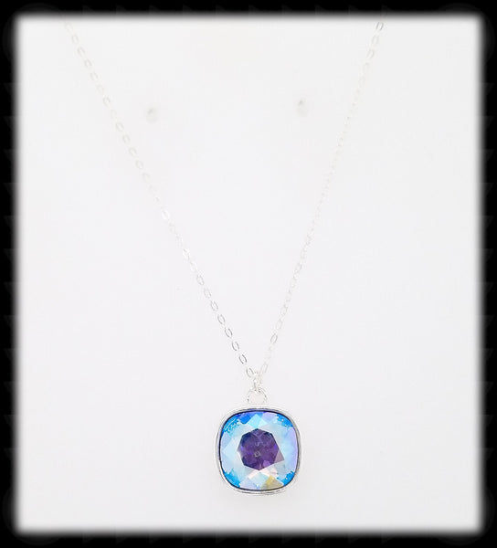 #CD48N- Cushion Cut Necklace- Light Sapphire Silver