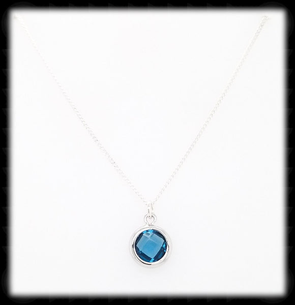 #MCH55N- Petite Framed Glass Necklace- Navy Silver