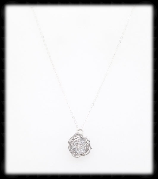 #MM9984N- Crystal Nest Necklace- Silver