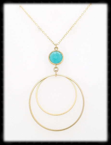 #MCH52GN- Framed Glass Ring Necklace- Mint Gold