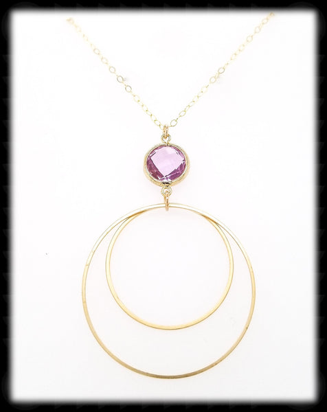 #MCH51GN- Framed Glass Ring Necklace- Lavender Gold