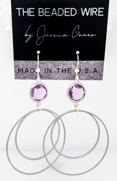 #MCH51- Framed Glass Ring Drop Earrings- Lavender Silver
