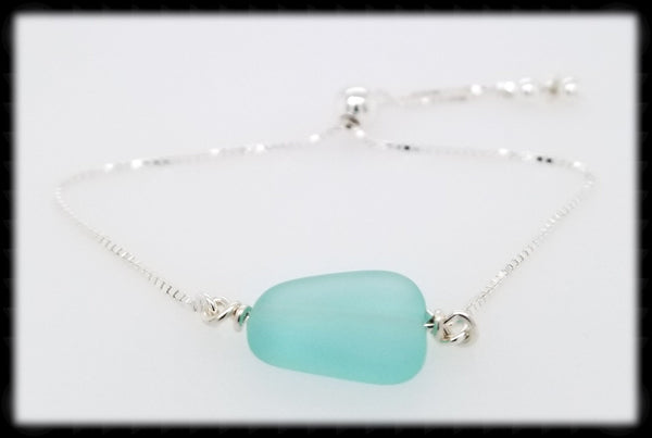 #SGB7- Sea Glass Adjustable Bracelet- Pale Green