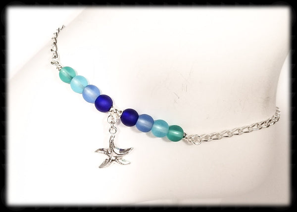 #ANKSG2- Sea Glass Blue's Anklet- Starfish