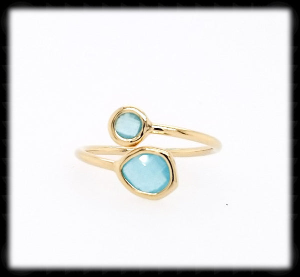 #RFT17G- Framed Glass Adjustable Ring- Ocean Gold