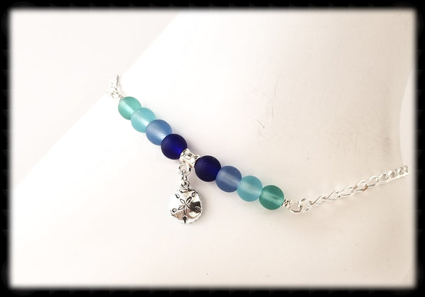 #ANKSG22- Sea Glass Blue's Anklet- Sand Dollar