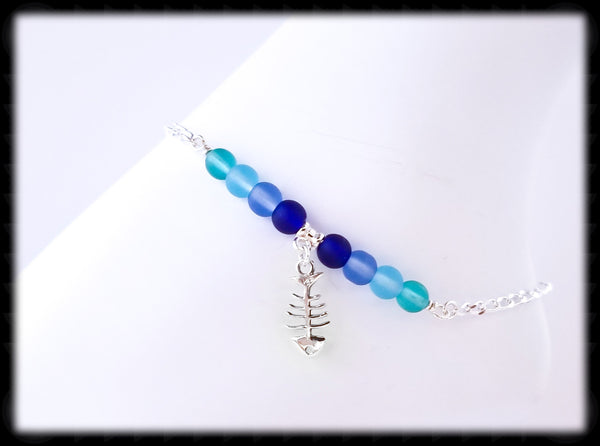 #ANKSG23- Sea Glass Blue's Anklet- Fish