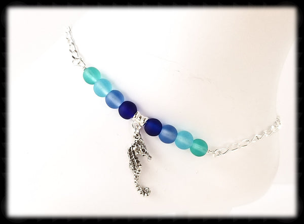 #ANKSG25- Sea Glass Blue's Anklet- Sea Horse