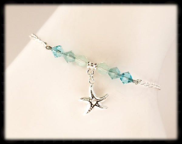 #ANK13- Sea Greens Sterling Anklet- Starfish