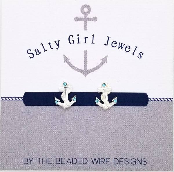 SG053- Blue Sparkle Anchor Studs