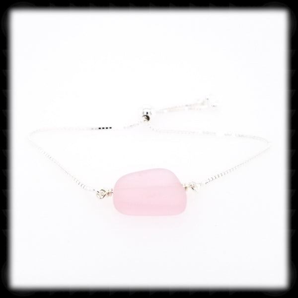 #SGB76- Sea Glass Adjustable Bracelet- Pink