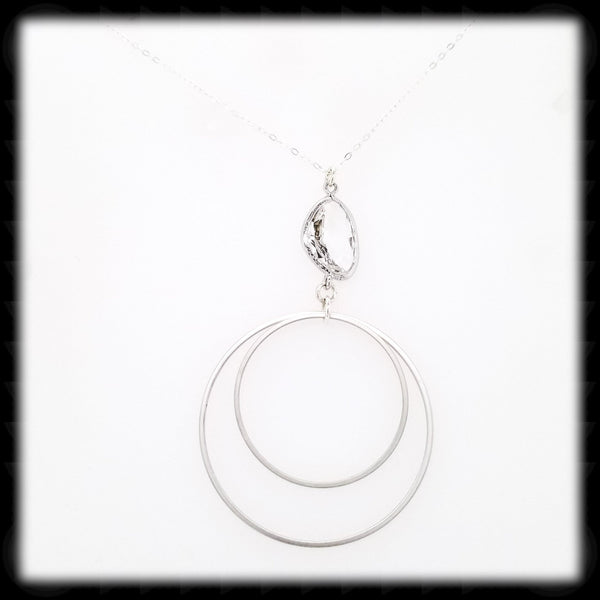 #MC34N- Framed Nugget Loop Necklace- Clear Silver