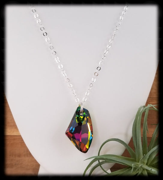#ACRN01- Bold Crystal Long Necklace- Vitrail