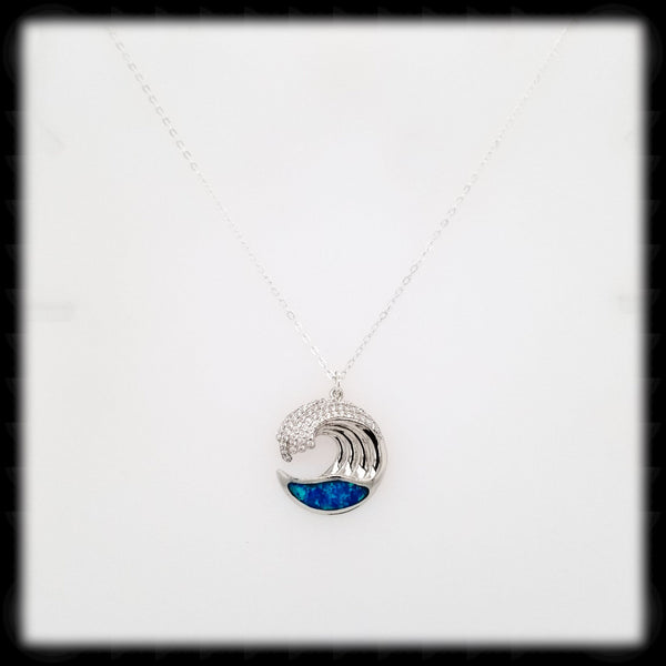 #A05N- Sparkling Crest Wave Necklace- Blue Opal