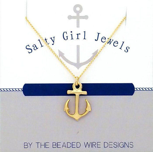 #SG33GN-Petite Anchor Drop Necklace- Gold