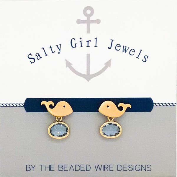 #SD7093- Whale Drop Stud- Light Sapphire Gold