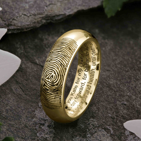 Gold Fingerprint Ring with Wedding Vows