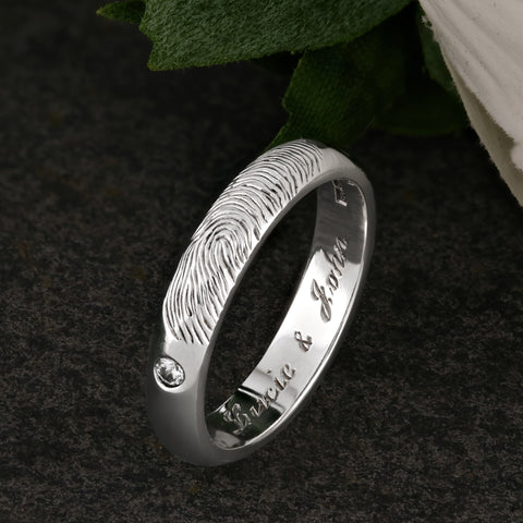 White Gold and Diamond Fingerprint Ring