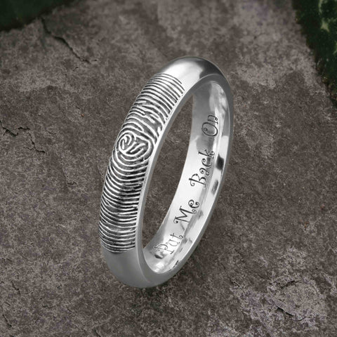 Fingerprint Wedding Ring - Funny Engraving, Put Me Back On