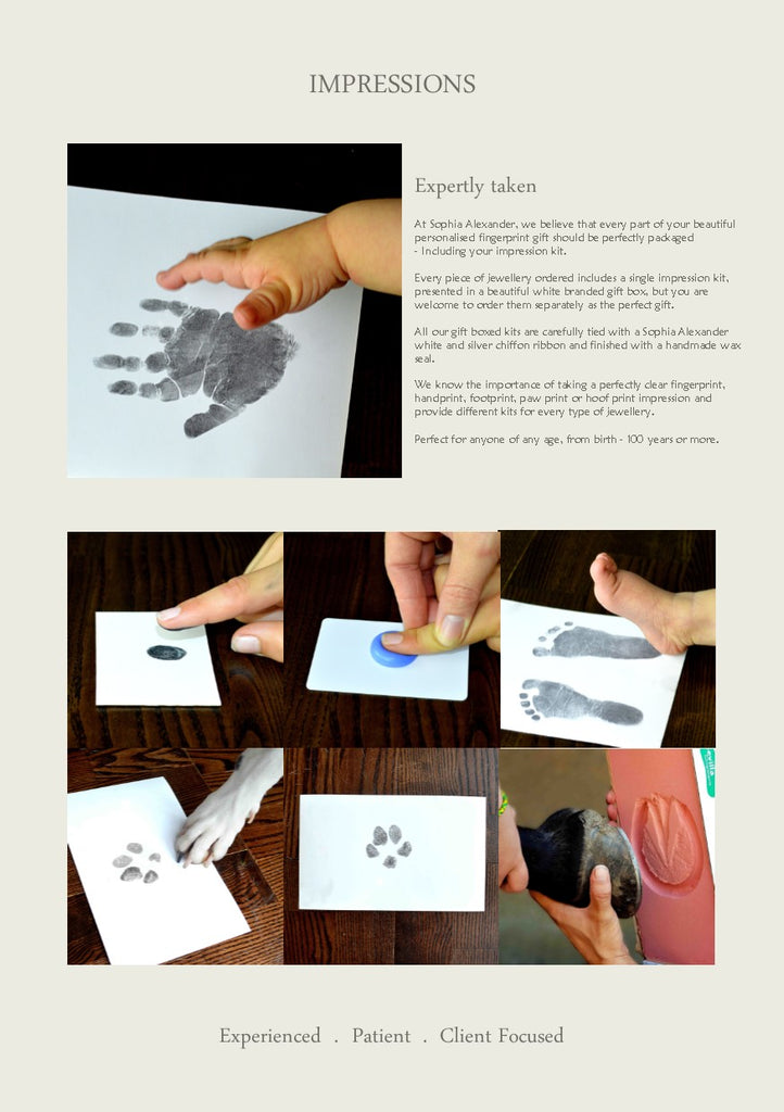 How to take fingerprints, handprints, footprints, pawprints, hoof prints for jewelry.