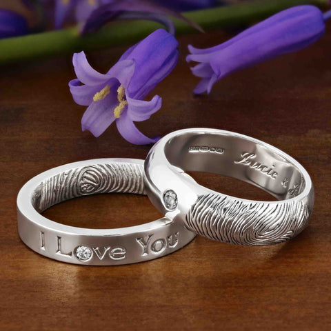 Fingerprint wedding rings in white gold with diamonds