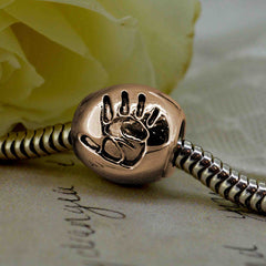 Rose Gold Handprint Bead - Fits Pandora and Troll Bead Bracelets